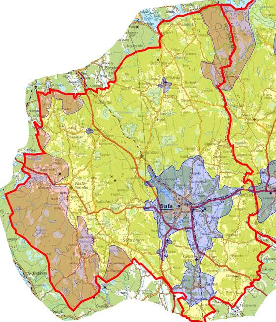 Karta över operativt verksamhetsområde Sala kommun