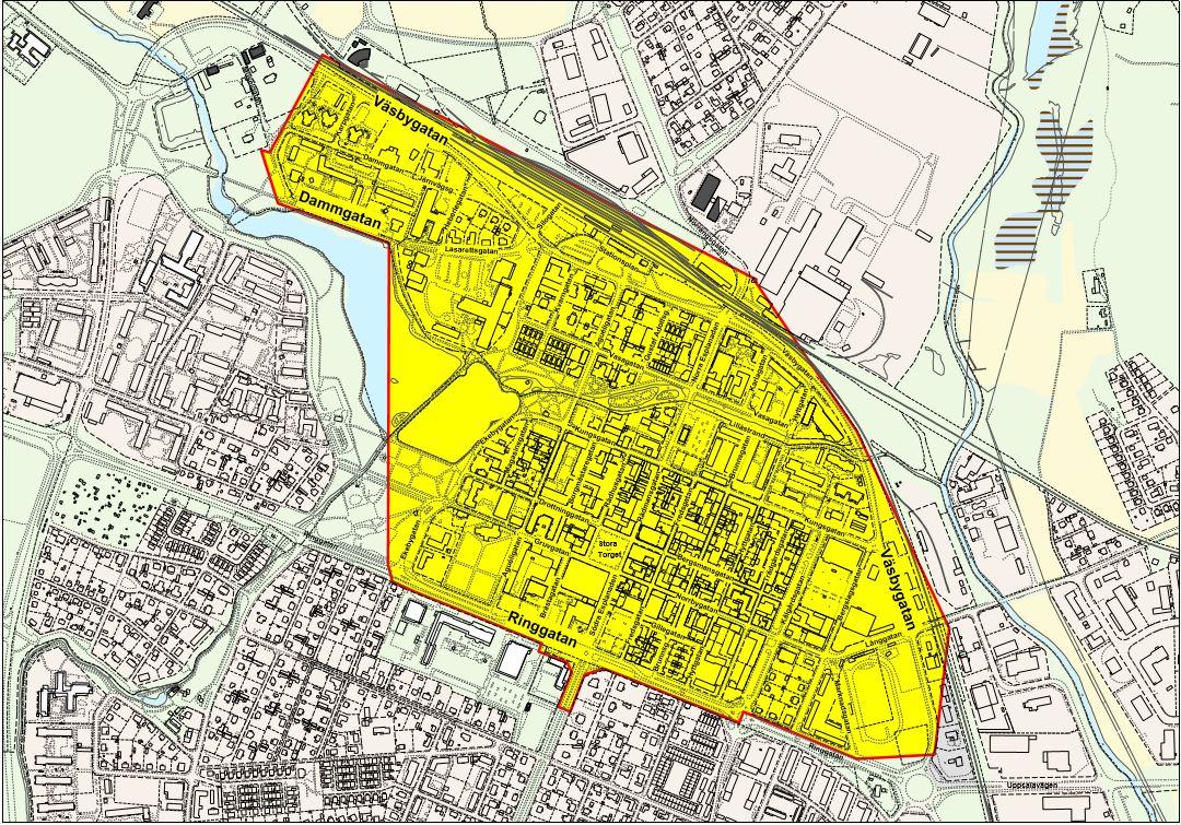 kartbild: Område där generellt parkeringsförbud gäller